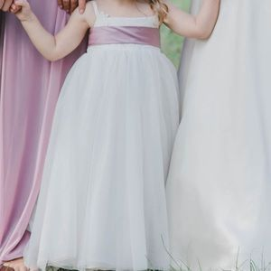 David's Bridal flower girl dress with sash and bow